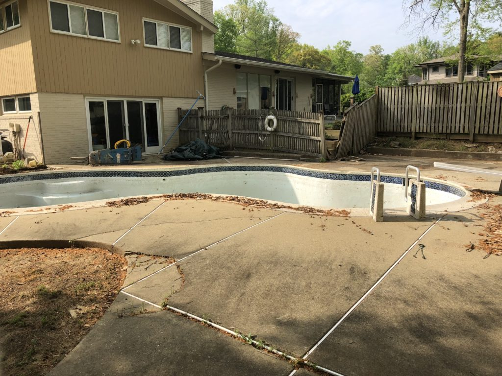 Before Concrete Pool Removal in Bethesda Maryland