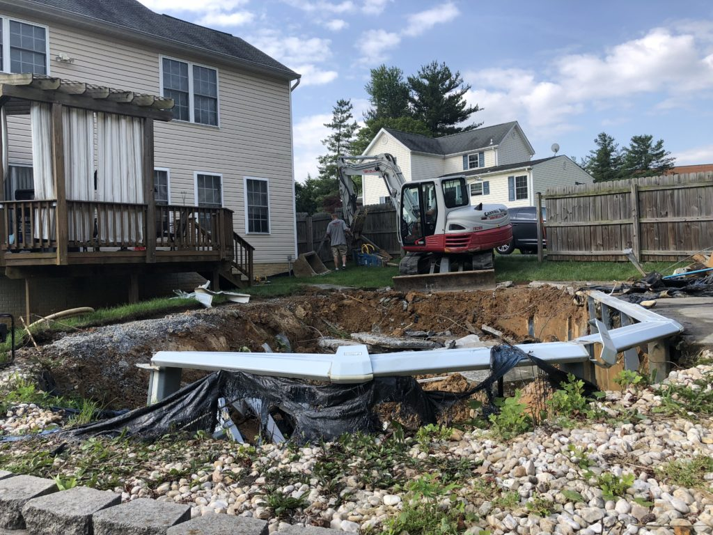 Before Above Ground Pool Removal in Elkridge Maryland