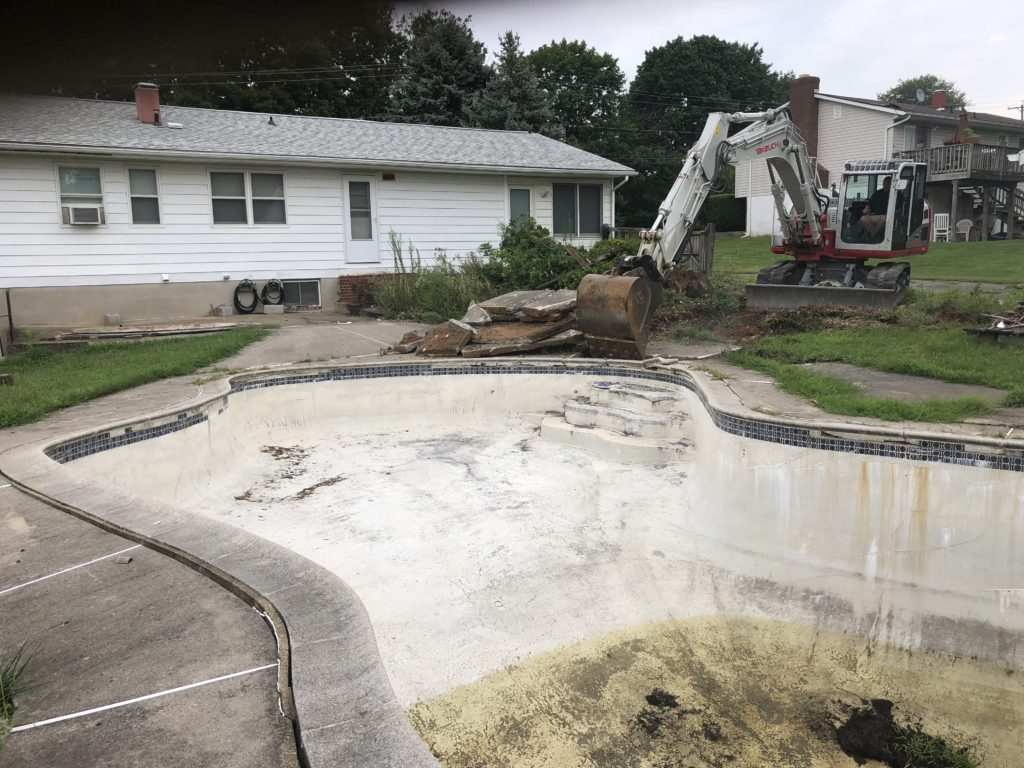 Before Concrete Pool Removal Eldersburg Maryland